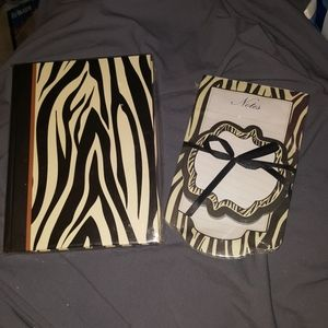Zebra print journal and notepad set